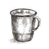 Imagen del vector de una taza del metal Dibujo del estilo del bosquejo stock de ilustración