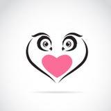 Imagen del vector del búho y del corazón Imagen de archivo libre de regalías