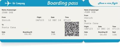 Imagen del vector del boleto del documento de embarque de la línea aérea Foto de archivo libre de regalías