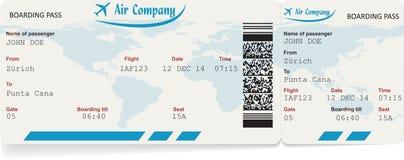 Imagen del vector del boleto del documento de embarque de la línea aérea Fotos de archivo libres de regalías