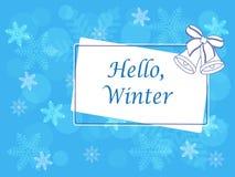 Imagen del vector del invierno con el texto y las campanas Imágenes de archivo libres de regalías