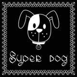 Imagen del vector del perro en fondo negro Fotografía de archivo libre de regalías
