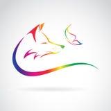 Imagen del vector del zorro y de la mariposa Foto de archivo libre de regalías