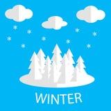 Imagen del vector del invierno Árboles de navidad, nubes y copos de nieve blancos Foto de archivo