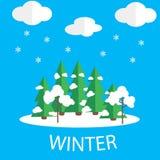 Imagen del vector del invierno Tiempo de la nieve Fotos de archivo