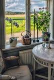 Imagen del viejo interior escandinavo Flores en la ventana fotografía de archivo libre de regalías