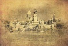 Imagen del vintage del edificio del congreso nacional, Buenos Aires Foto de archivo