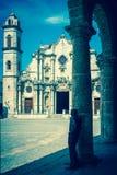 Imagen del vintage el Havana Cathedral Imagen de archivo