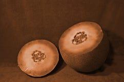 Imagen del vintage del melón de la fruta y de la semilla después de cortar Fotografía de archivo