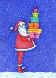 Imagen dibujada mano de Santa Claus que se coloca en la noche nevosa con los regalos Ilustración del Vector