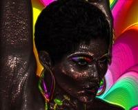 Imagen digital abstracta del arte del cierre de la cara de una mujer para arriba Foto de archivo