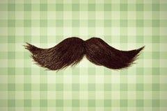 Imagen diseñada retra de un bigote delante del papel pintado verde Fotos de archivo