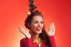 Imagen divertida de los días de fiesta del Año Nuevo y de la Navidad con el modelo Fotografía de archivo