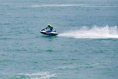 Imagen editorial documental Competidores extremos del atleta en el barco del esquí del jet Fotografía de archivo libre de regalías