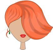 Imagen elegante del vector de un peinado asimétrico de una chica joven con el pelo rojo, en amentos verdes, en un fondo aislado ilustración del vector