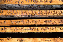 Imagen en primer de una colmena abierta vieja desde arriba Fotos de archivo