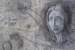 Imagen en un muro de cemento viejo dibujado por el carbón Foto de archivo libre de regalías