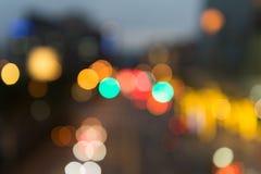 Imagen enfocada/borrosa del De de luces Enmascare las luces Bokeh ligero Fotografía de archivo
