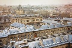 Imagen espectacular de los tejados de París del Notre-Dame de Paris de la catedral Imagen de archivo libre de regalías