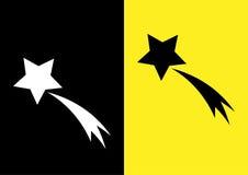 Imagen esquemática del cometa Estrella y rastro Icono en un negro Fotografía de archivo libre de regalías