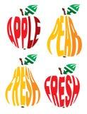 Imagen estilizada bajo la forma de manzana y pera Imagen de archivo