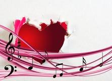 imagen estilizada del primer del corazón y de las notas Imágenes de archivo libres de regalías