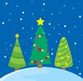 Imagen estilizada 1 del tema de los árboles de navidad Imágenes de archivo libres de regalías