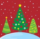 Imagen estilizada 2 del tema de los árboles de navidad Fotografía de archivo