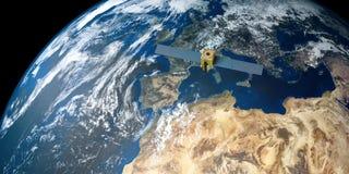 Imagen extremadamente detallada y realista de la alta resolución 3D de una tierra que está en órbita por satélite Tirado de espac imagen de archivo