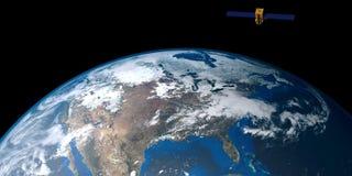 Imagen extremadamente detallada y realista de la alta resolución 3D de una tierra que está en órbita por satélite Tirado de espac ilustración del vector