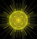 Imagen feliz del sol del fractal de la fantasía abstracta del amarillo Fotografía de archivo libre de regalías