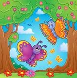 Imagen feliz 8 del tema de las mariposas Foto de archivo libre de regalías