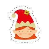 imagen femenina de la Navidad del duende de la cara Imagenes de archivo