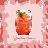 Imagen fresca del estilo del bosquejo de Gelato del sorbete de Granita de la fresa Ilustración drenada mano del vector Artículo a libre illustration