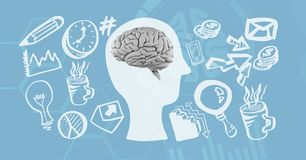 Imagen generada Digital de los diversos iconos que rodean el cerebro Imagen de archivo libre de regalías