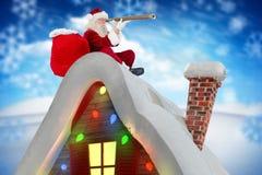 Imagen generada Digital de Papá Noel que mira a través del telescopio Imágenes de archivo libres de regalías