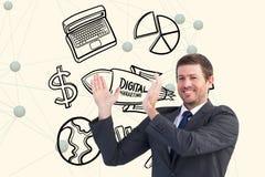 Imagen generada Digital del hombre de negocios que gesticula con los diversos iconos en fondo Fotos de archivo libres de regalías