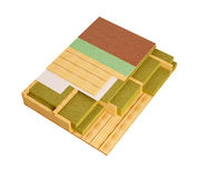 imagen generada por ordenador 3D del detalle de madera de la construcción de pisos de la casa que enmarca Fotografía de archivo libre de regalías