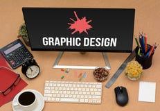 Imagen gráfica del concepto de la oficina conceptora con los artículos del stationey imágenes de archivo libres de regalías