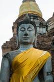 Imagen grande de la estatua de Buda en la ciudad antigua de ayutthaya Foto de archivo