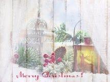 Imagen hermosa de la Navidad en el tablero de madera con el texto del saludo Fotos de archivo libres de regalías