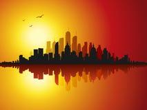 Imagen hermosa del vector de la puesta del sol del paisaje urbano Fotografía de archivo libre de regalías