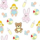 Imagen inconsútil con los juguetes para los niños Un modelo del vector con una muñeca, un maniquí del ` s del bebé, un pacificado imágenes de archivo libres de regalías