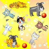 Imagen inconsútil en un tema del animal doméstico stock de ilustración