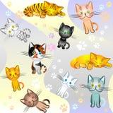 Imagen inconsútil en un tema del gato Fotos de archivo libres de regalías
