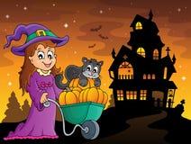 Imagen linda 3 de Halloween de la bruja y del gato libre illustration