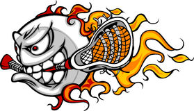 Imagen llameante del vector de la cara de la bola de lacrosse Imagenes de archivo
