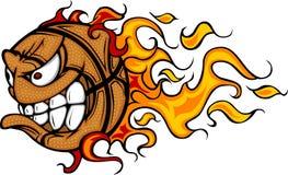 Imagen llameante del vector de la cara de la bola del baloncesto Imagen de archivo libre de regalías