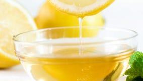 Imagen macra del goteo natural de la miel de la abeja de la rebanada del limón Fotos de archivo