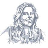 Imagen a mano del vector monocromático, mujer joven sonriente feliz B stock de ilustración